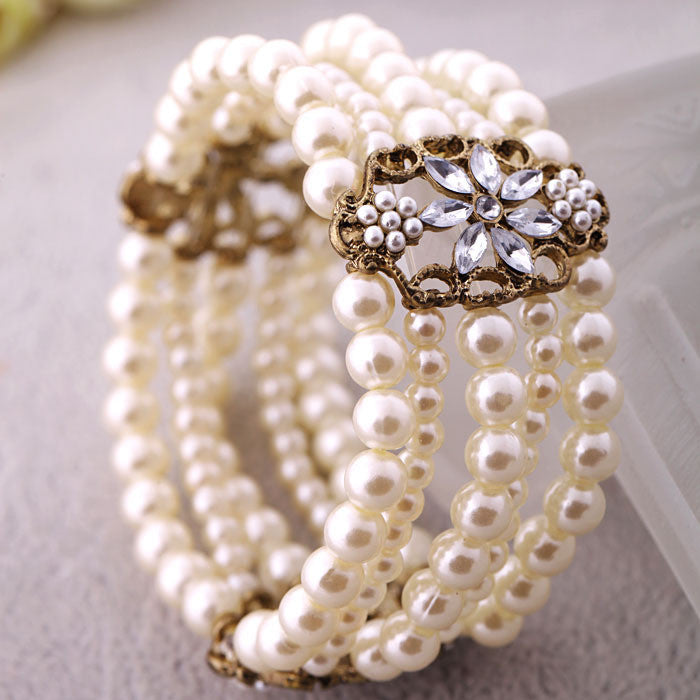 Fashion Accessories Simulated Pearl Women's Multi-layer Elastic Bracelet Accessories Free Shipping Bracelets & Bangles