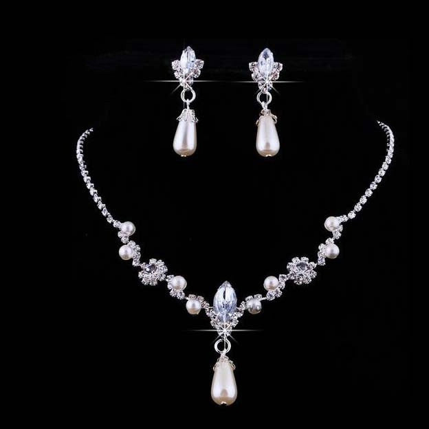 Fashion Alloy Necklaces Earrings Rhinestone Wedding Rhinestone Bridal Jewelry Sets Wholesale Jewellery For Women