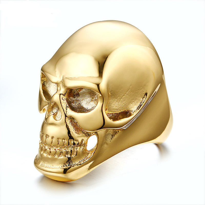 Fashion Big Gold Color Men Ring 316 Stainless Steel Skull Rock Rings Men Jewelry