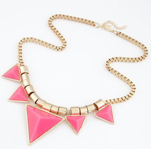 Fashion Bohemia Style Womens Unique Jewelry Triangle Gems Bib Necklace & Pendants Chain