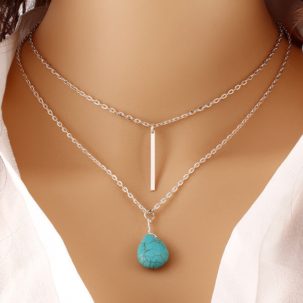Fashion Bohemia Turquoise Double Chain Heart Pendant Necklace Punk Classic Summer Body Chain Necklaces Jewellery Women