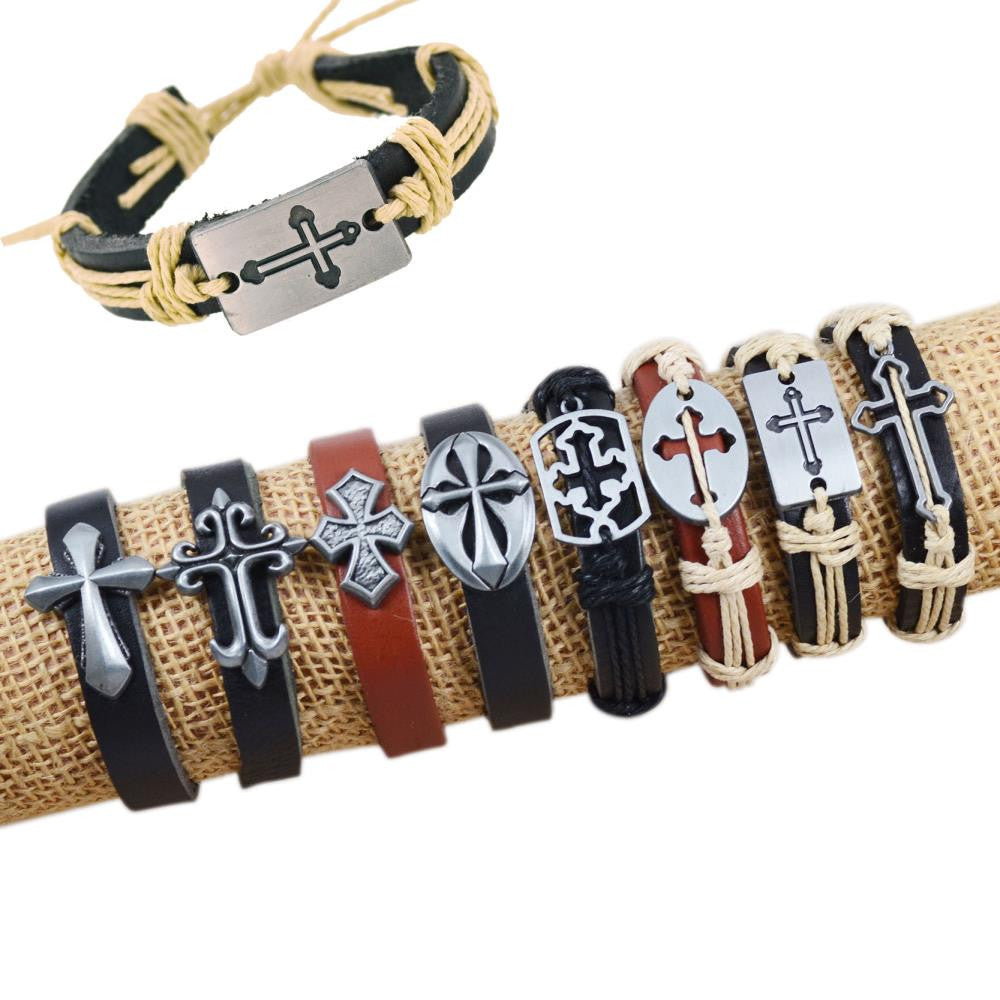 Fashion Bracelet Fashion Mixed Cross Charms Tribe Genuine Leather Bracelets Jewelry Men & Women Bracelet-8pcs/set