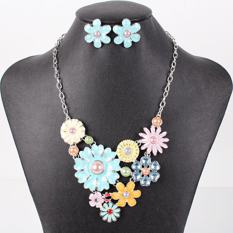 Fashion Brand Jewelry Sets Silver Plated 4Colors Woman's Necklace Set Spring Design High Quality Party Gifts