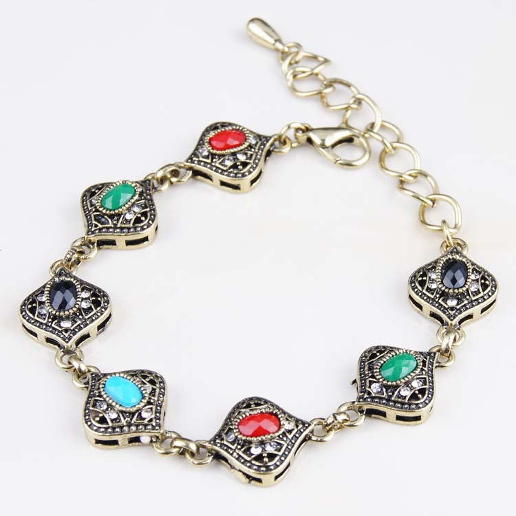Fashion Brand Jewelry Bohemia Style Retro Resin Multicolor Charm Vintage Love Cuff Women Bracelets & Bangles