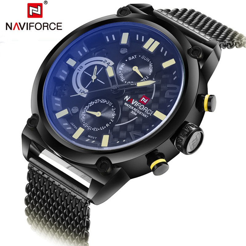 Fashion Casual Mens Watches Top Brand Luxury NAVIFORC Military Quartz Watch Men Waterproof Wristwatch