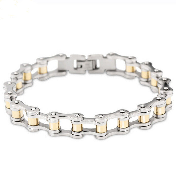 Fashion Charm Best Friends Mens Bracelets Men Jewelry Gold Stainless Steel Motorcycle Bicycle Chain Link Men's Bracelets