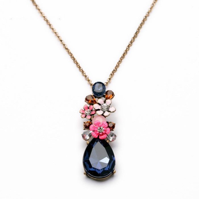 Fashion Design New Arrival Resin Glass Zinc Alloy Best Seller 18k Gold Flower SapphireTeardrop Pendant Necklace