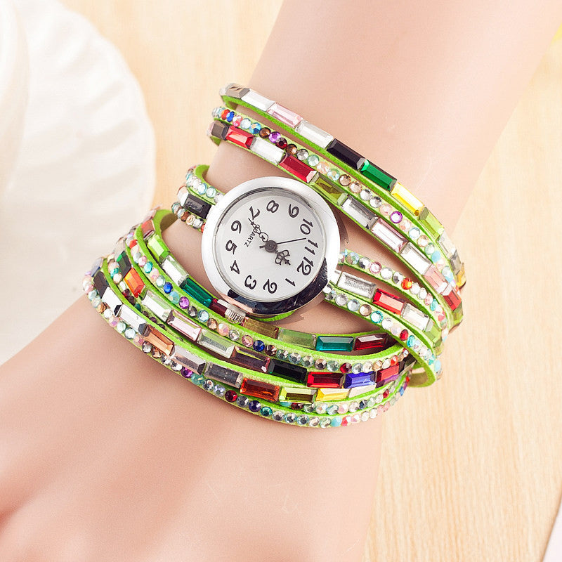 Fashion Dress Colors Leather Ladies Watch Women Casual Quartz Watch Shining Crystal Bracelet Watch Relogio Feminino Montre Femme