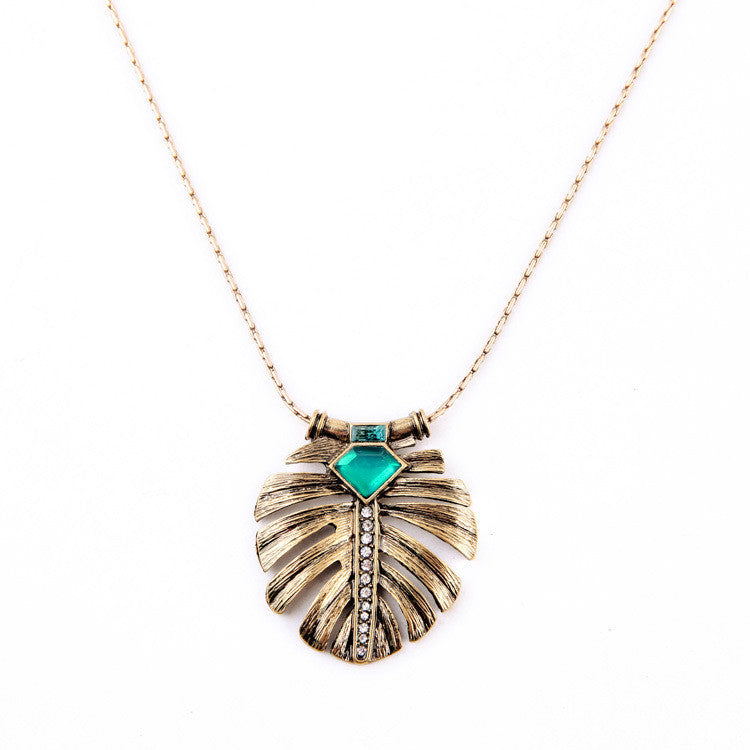 Fashion Elegance OL Style Alloy Leaf Inlay Emerald Long Pendant Necklace
