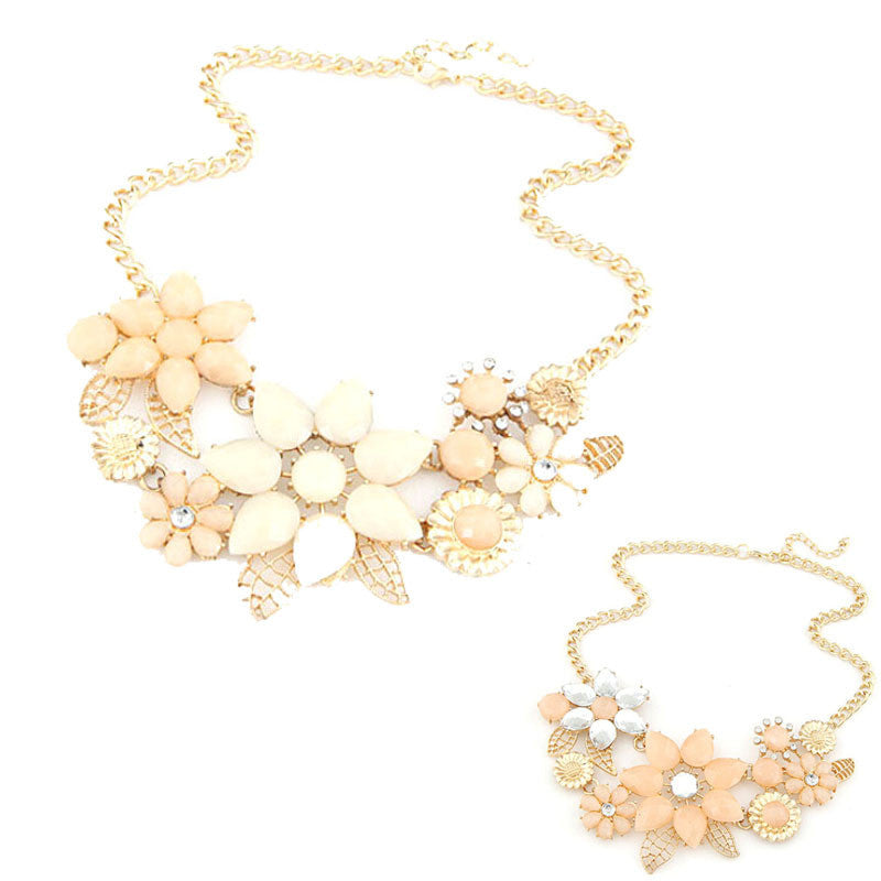 Fashion Elegant Women Pink Flower gold necklace Jewelry | Buycoolprice