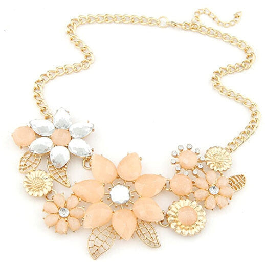 Fashion Elegant Women Pink Flower gold necklace Jewelry Choker Bib Statement Collar Chain Pendant Necklace
