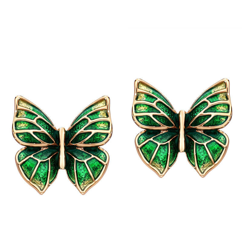 Fashion Enamel Rose Gold Plated Butterfly Charm Fashion Stud Earrings Jewelry 2016 New Hot Birthday Gifts