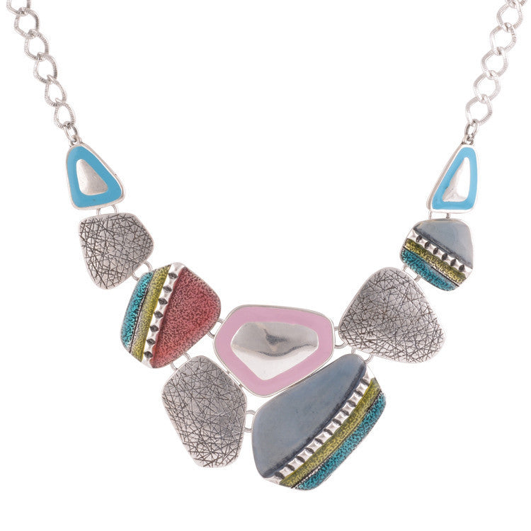 Fashion Ethnic Vintage Antique Silver Plated Colorful Enameling Geometric Pendants Choker Statement Necklaces
