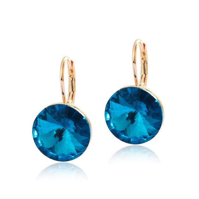 Fashion Genuine Austrian Blue Crystal Brand Earrings Wedding Gold-Plated Jewellery