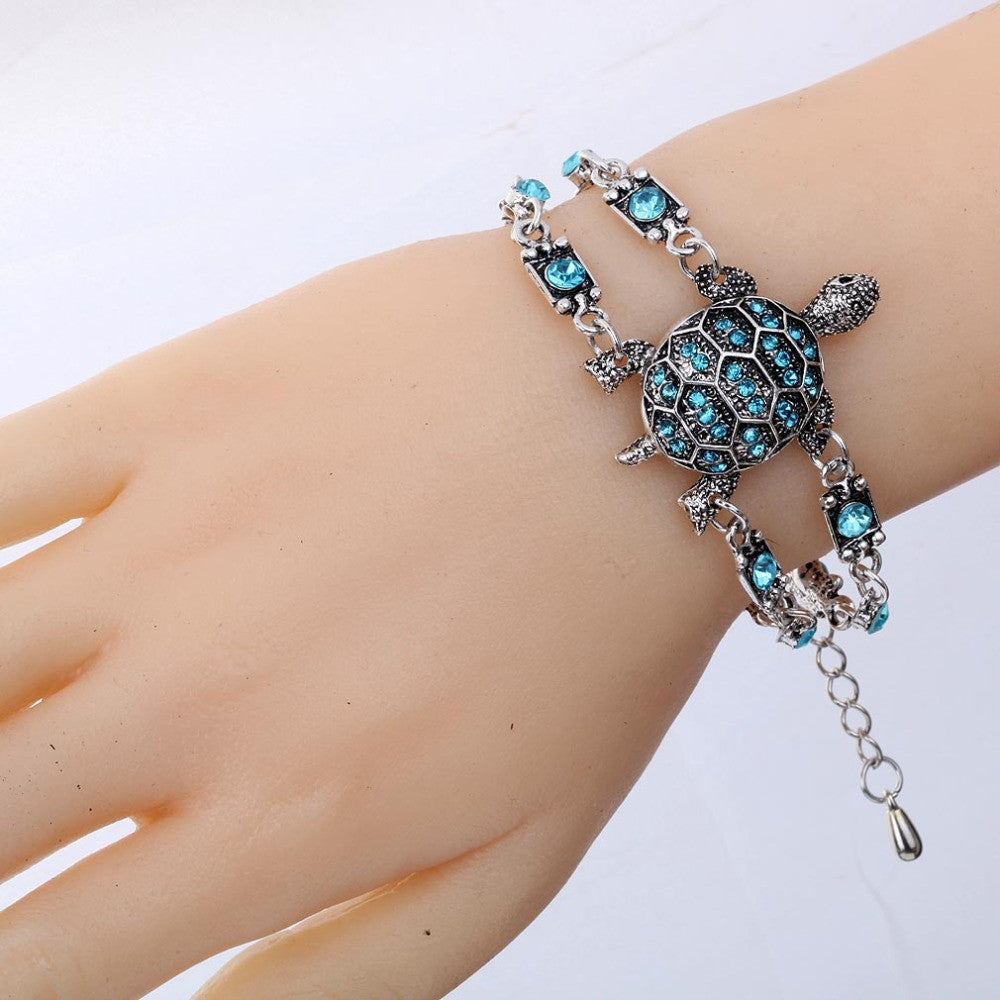 Fashion Hot Sale Vintage Retro Style Crystal Bangle Jewelry Tortoise Women Chain Bracelet Tibetan Silver