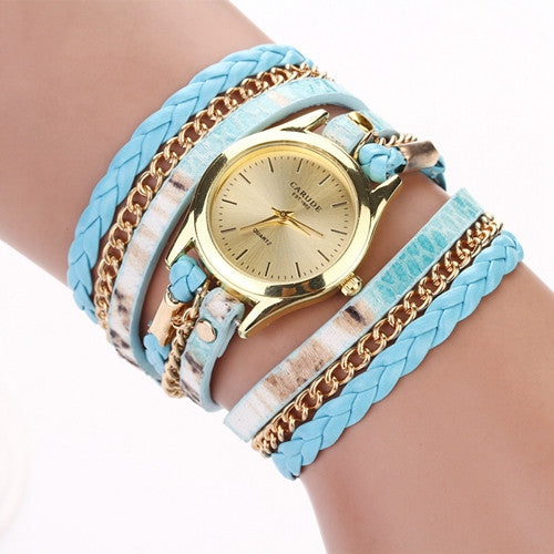 Fashion Hot Sell New Woven Leopard Geneva Bracelet Wristwatch Women Dress Watches Women Luxury Brand Quartz Watch