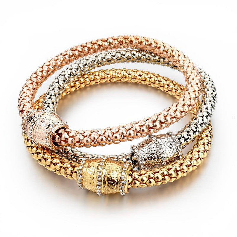 Fashion Jewelry Bracelets & Bangles Real 18K Gold Silver Rose Gold Plated Bracelet Metal Chain Women Bracelet