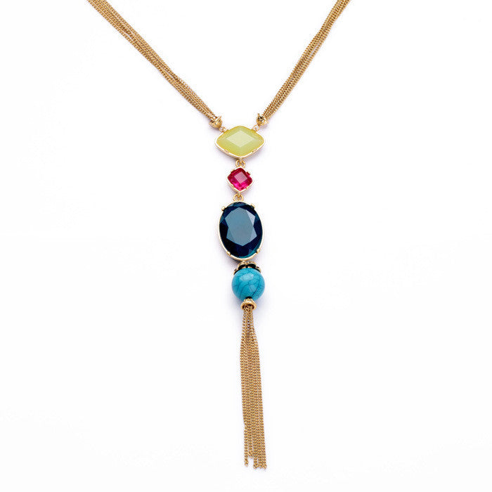 Fashion Jewelry Elegant 18k Gold Plated Beaded Long Pendant Necklace Women Jewelry
