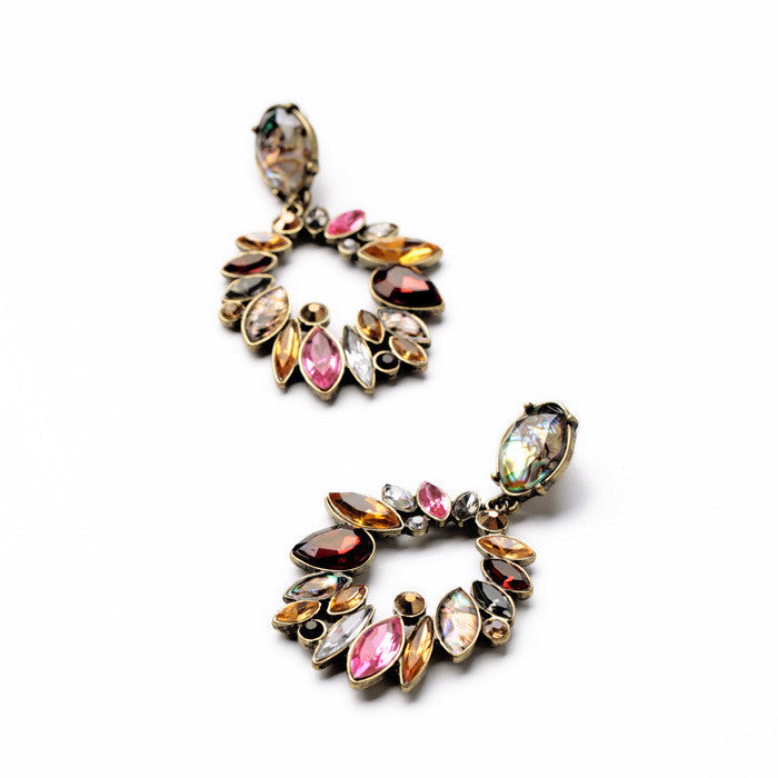 Fashion Jewelry Elegant Colorful Rhinestone Big Round Earrings for Women Fashion Long Drop Earrings Accessories