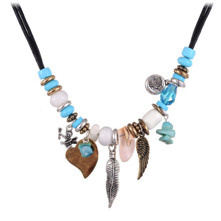 Fashion Jewelry New Turquoise Pendant Necklaces Blue Beads Shell Leaf Shape Handcraft Rope Chain Necklace Statement Bijoux