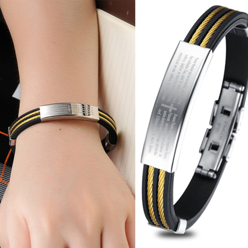 New Fashion Jewelry Punk Gold Stainless Steel Cross Black Genuine Silicone Men Bracelet Male Bangles