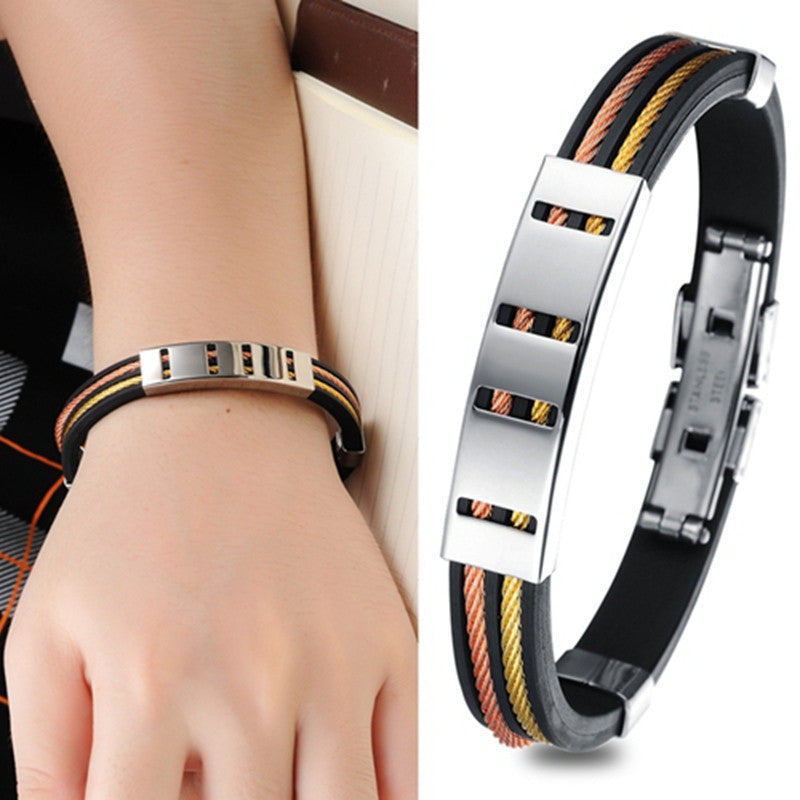 Fashion Jewelry Punk Rose Gold Stainless Steel Black Genuine Silicone Men Bracelet Male Bangles