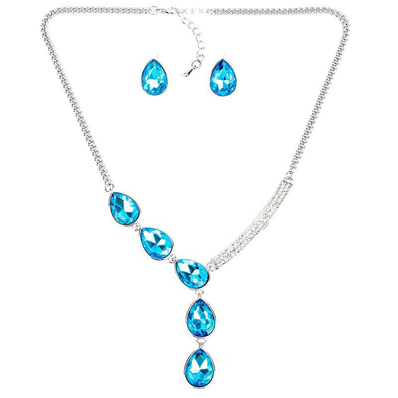 Fashion Jewelry Sets Crystal Necklace Green Crystal Wedding Jewelry New High Quality Party Gifts