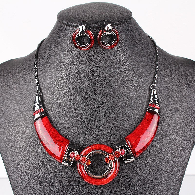 Fashion Jewelry Sets Gunmetal Plated Unique Design Red/Gray/Purpld Color High Quality Party Gifts