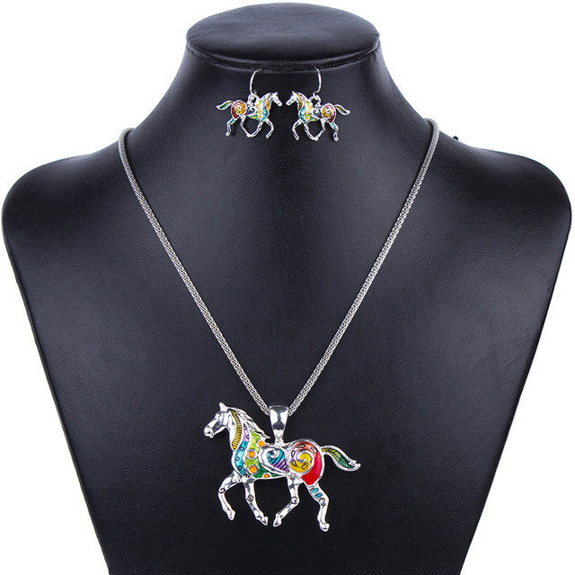 Fashion Jewelry Sets High Quality Gold Plated Multicolor Horse Design Woman's Necklace Set Wedding Jewelry Party Gifts