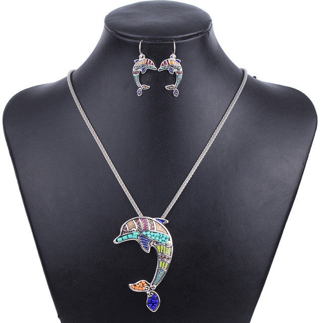 Fashion Jewelry Sets Hight Quality Necklace Sets For Women Jewelry Silver Plated Beads Dolphin Unique Design Party Gift