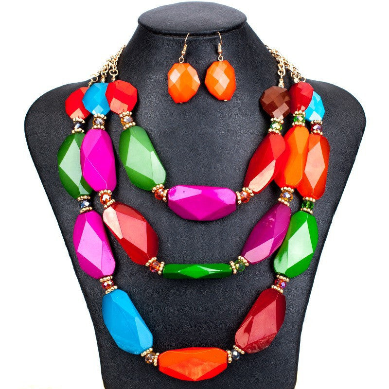 Fashion Jewelry Sets Woman's Necklace Earring Set Multicolor Resin Beads Handmade Necklace Big Necklace Sets
