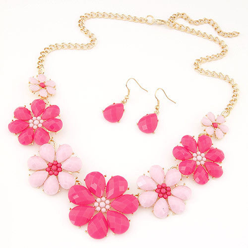 Fashion Jewerly Sets for Women Accessories Vintage Flower Necklace and Earrings Sets Parure Bijoux Femme Statement Collares