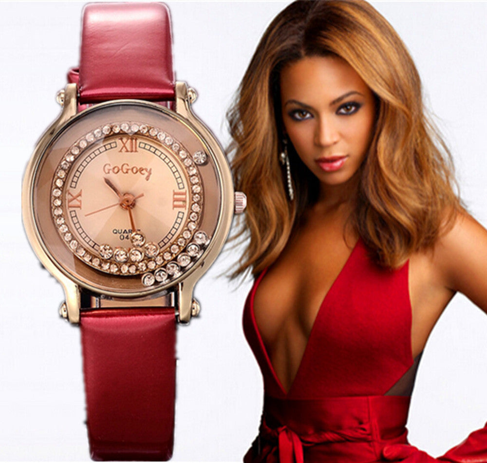 Fashion Leather Strap watch Women rhinestone watches Women Luxury quartz watch relogio feminino Female atmos clock