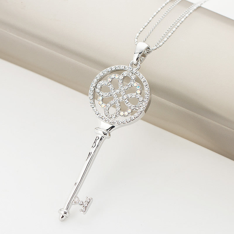Fashion Long Necklaces Key, Luxury Silver Plated Jewelry Crystal Chain Pendant Necklace Long Elegant Jewelry Accessory For Women