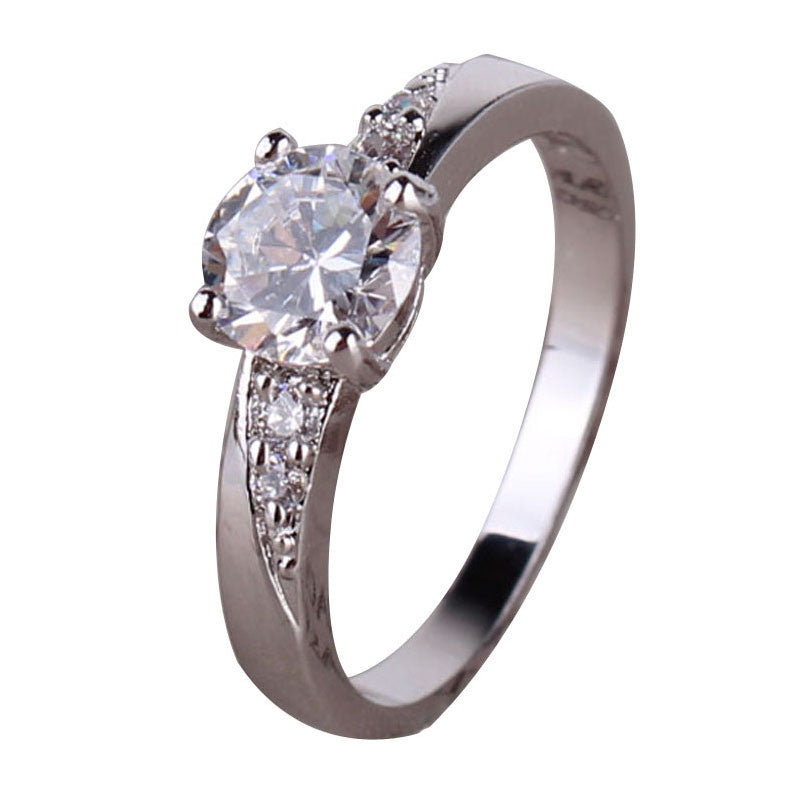 Fashion Midi Finger Rings for Women 18K White Gold Plated Wedding Rings CZ Zirconia Round Crystal Engagement Ring