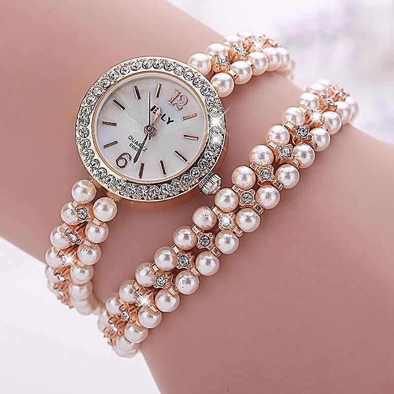 Fashion New Arrive Fashion Casual Luxury Steel Pearl Bracelet Wristwatch Watch Women Ladies Casual Montre Watch