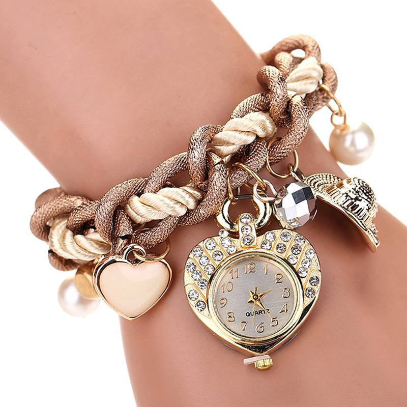 Fashion New Luxury Fashion Stainless Steel Heart Gold Wristwatch Quartz Watch Electronics Women Watches