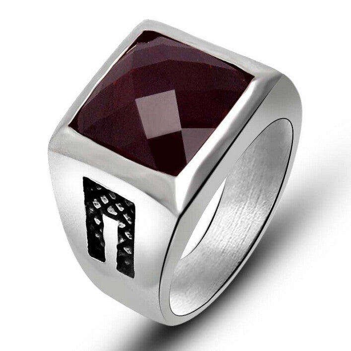 Fashion New Stainless Steel Mens Rings Red Black Agate Wedding Rings For Men Vintage Ruby Jewelry High Quality Cool Ring Men