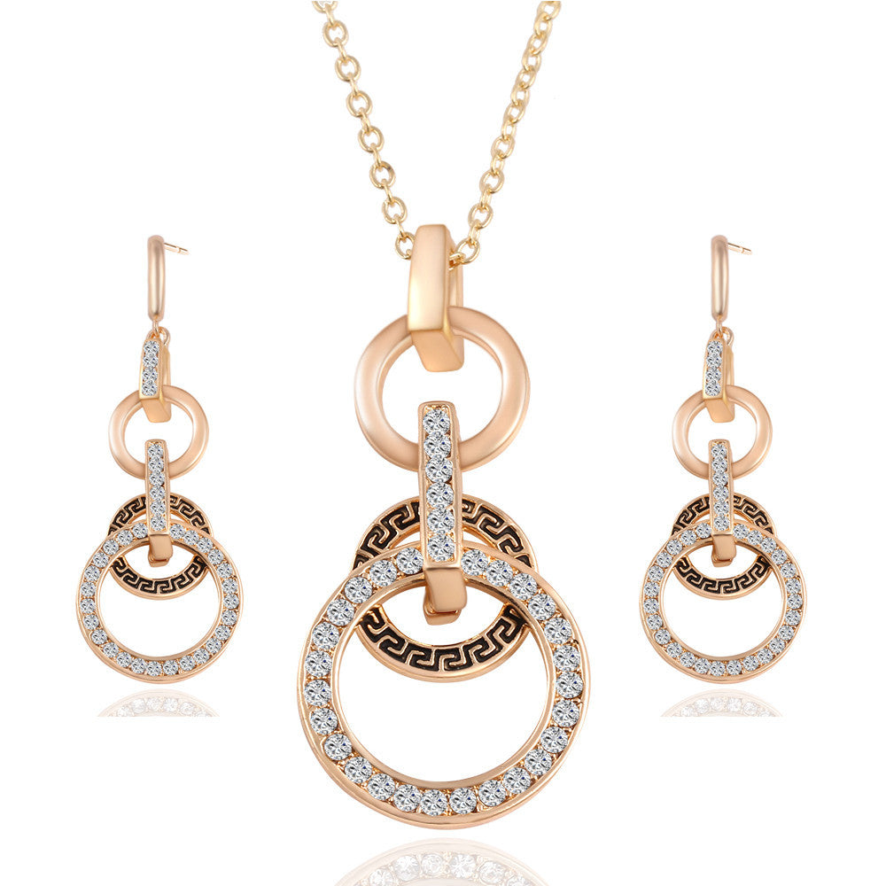 Fashion Pendientes Austrian Crystal Circle Jewelry Sets Party Gold Pendant Necklace Drop Earrings Set For Women Gift