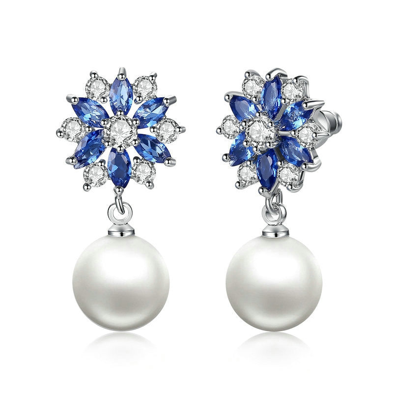 Fashion Platinum Plated Blue Crystals Pearl Dangle Earrings Drop Earrings for Women Earrings Engagement Jewelry