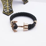 Fashion Punk Leather Bracelet Men Gold Anchor Bracelet Christmas Gift tom Hope Friendship Feme Bracelets