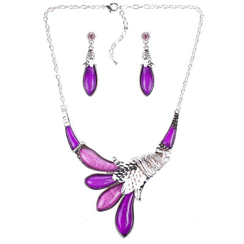 Fashion Red Jewelry Sets Woman's Necklace Earring Set Wedding Jewelry Sets New High Quality Peacock Design