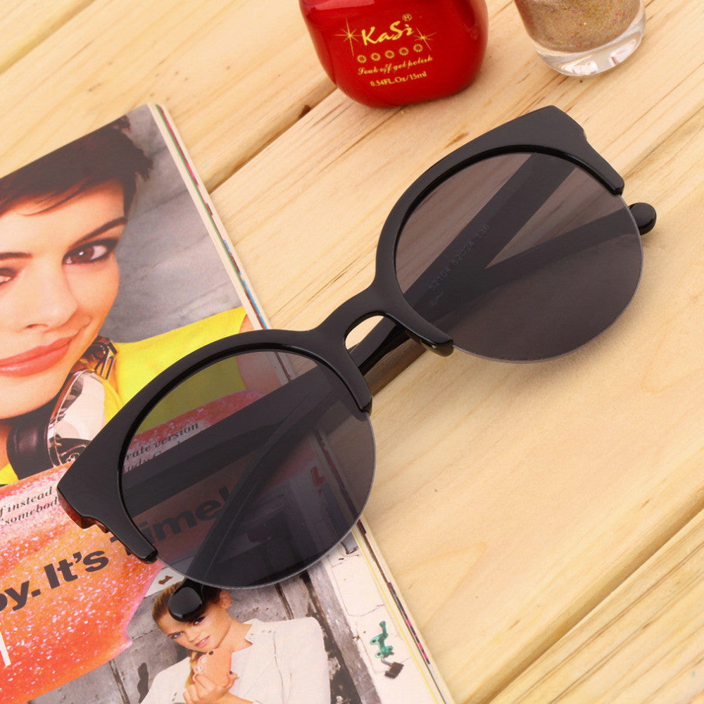 Fashion Retro Designer Super Round Circle Glasses Cat Eye Semi-Rimless Sunglasses Glasses Goggles oculos de sol