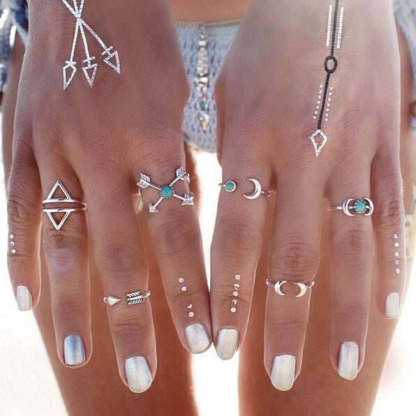 Vintage Turkish Beach Punk Moon Arrow Ring Set Ethnic Carved Silver Plated Boho Midi Finger Ring 6PCS