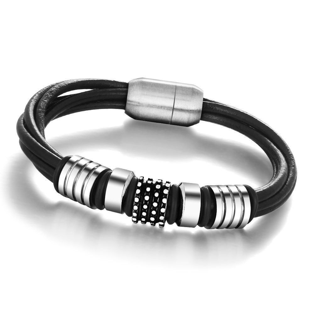 Fashion Rope China Men Bracelet Stainless Steel Genuine Leather For Men Bracelet Men Jewelry