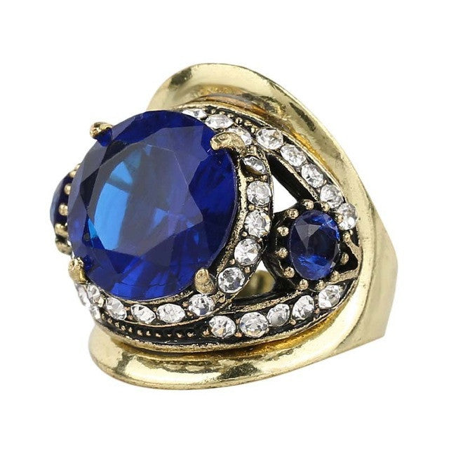 Fashion Sapphire Ring Vintage Look Inlay Crystal For Women Gift Turkey Jewellery