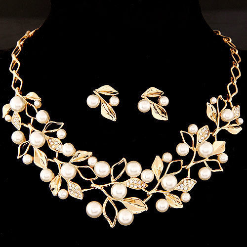 Fashion Simulated Pearl Jewelry Sets Statement Necklaces Earrings for Women Crystal Leaf Collares Wedding Accessories