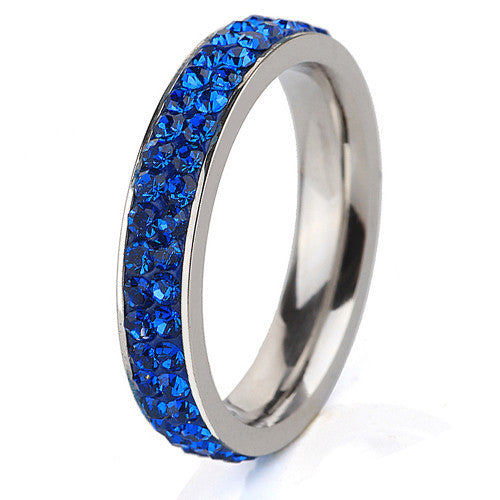Fashion Stainless Steel Ring Double Blue Lines(thin) Crystal Jewelry