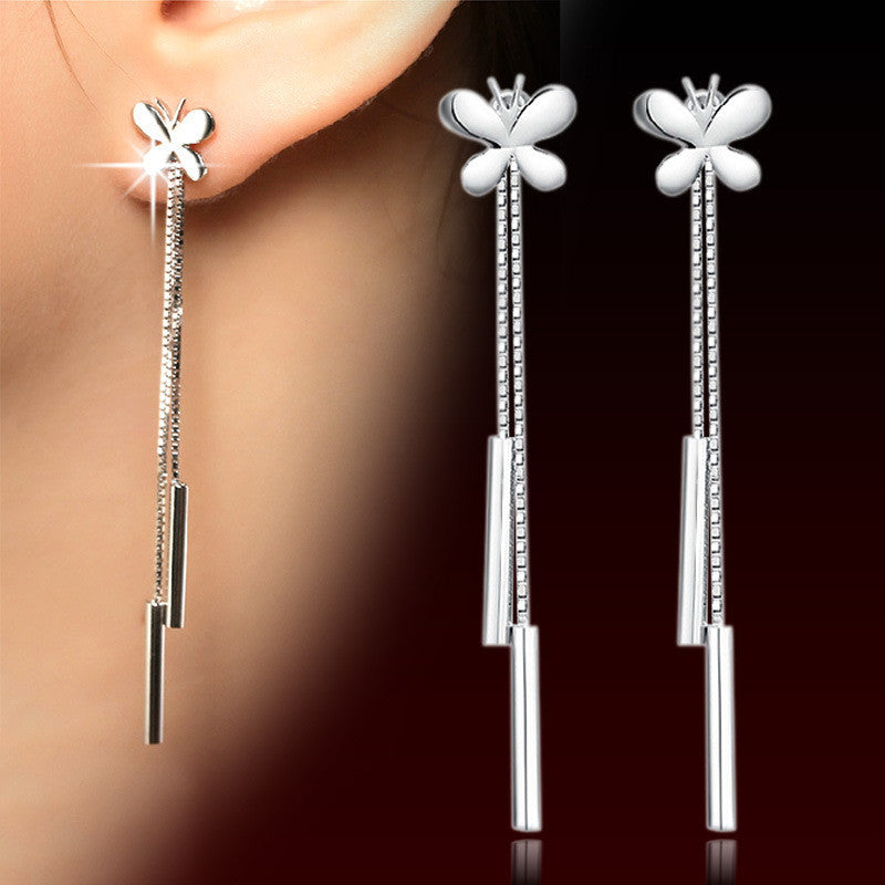 Fashion Summer Jewelry 925 Sterling Silver Butterfly long Tassels earrings.Platinum plating pendant earrings for women