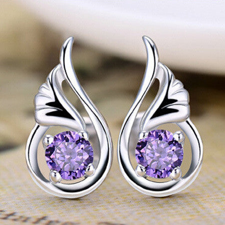 Fashion Trendy 925 Sterling Silver Bijoux For Women 2 Colors Setting Zircon Angel's Wings Stud Earrings